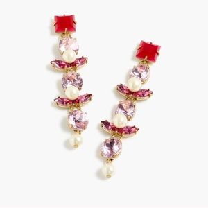 J. CREW Crystal and Pearl Drop Earrings NWT